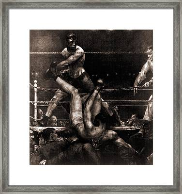 Jack Dempsey Knocked Out Of The Ring Framed Print by Everett