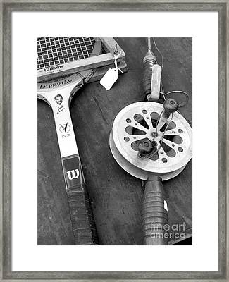 Jack Kramer Wood Racket And Ancient Rod And Reel Framed Print by David Bearden