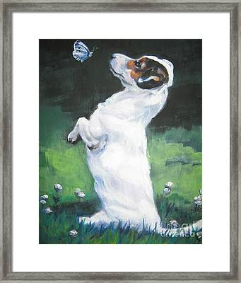 Jack Russell Terrier With Butterfly Framed Print by Lee Ann Shepard