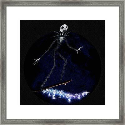 Jack Skellington Rolls The Moon Framed Print by Yoselem Veganmaniac