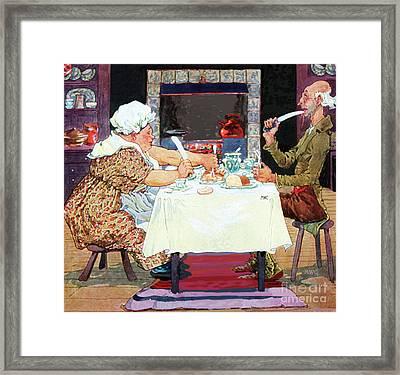 Jack Sprat Vintage Mother Goose Nursery Rhyme Framed Print by Marian Cates