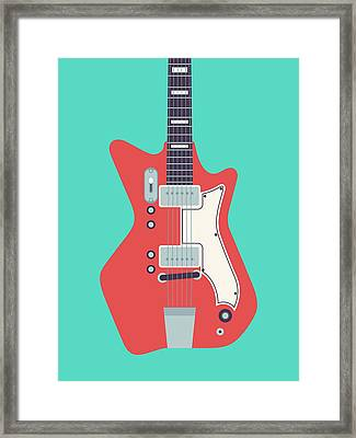 Jack White Jb Hutto Montgomery Ward Airline Guitar - Teal Framed Print