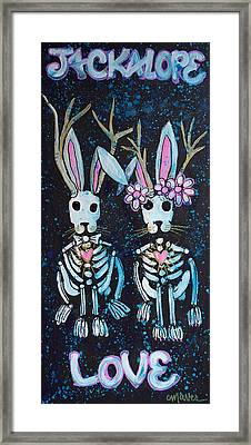 Framed Print featuring the painting Jackalope Love by Laurie Maves ART