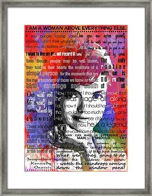 Jackie Kennedy Motivational Inspirational Independent Quotes 2 Framed Print