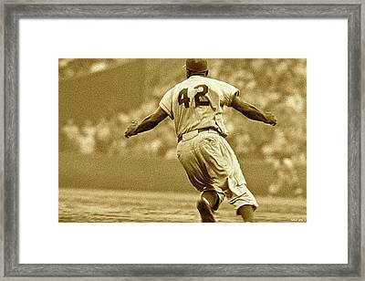 Jackie Robinson, Number 42, Brooklyn Dodgers Framed Print by Thomas Pollart