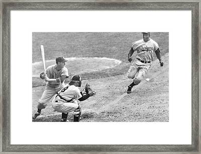 Jackie Robinson Stealing Home Yogi Berra Catcher In 1st Game 1955 World Series Framed Print by David Lee Guss