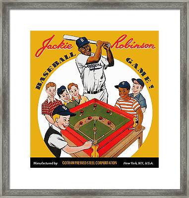 Jackie Robinson Vintage Baseball Game Framed Print by Big 88 Artworks