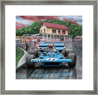 Jackie Stewart At Spa In The Rain Framed Print