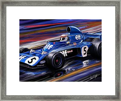 Jackie Stewart In The Rain Framed Print by David Kyte