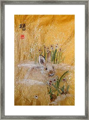 Framed Print featuring the painting Jackies New Year Rabbit by Debbi Saccomanno Chan