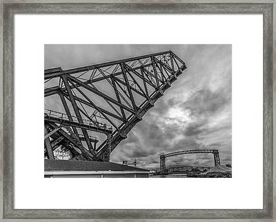 Jackknife Bridge To The Clouds B And W Framed Print