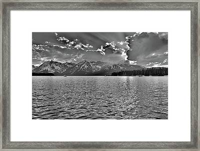 Jackson Lake Black And White Framed Print