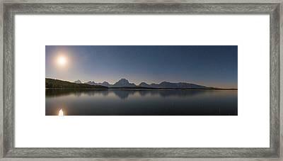 Jackson Lake Moon Framed Print by Darren White
