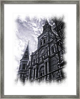 Jackson Square Cathedral Framed Print by Linda Kish