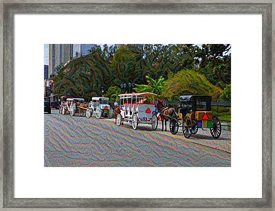 Jackson Square Horse And Buggies Framed Print by Bill Cannon