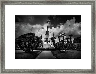 Jackson Square Sunrise In Black And White Framed Print