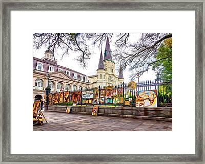 Jackson Square Winter 3 - Paint Framed Print by Steve Harrington