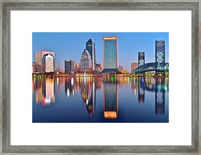 Jacksonville Florida At Daybreak Framed Print by Frozen in Time Fine Art Photography