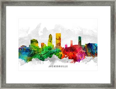 Jacksonville Florida Cityscape 12 Framed Print by Aged Pixel