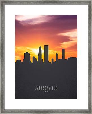 Jacksonville Florida Sunset Skyline 01 Framed Print by Aged Pixel