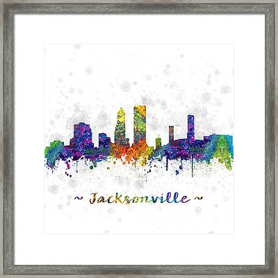 Jacksonville Florida Skyline Color 03sq Framed Print by Aged Pixel