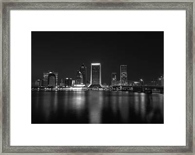 Jacksonville Landing At Night Framed Print by Sharon Batdorf