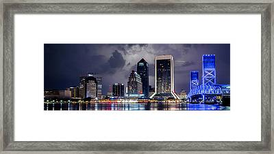 Jacksonville On A Stormy Evening Framed Print by Jeff Turpin