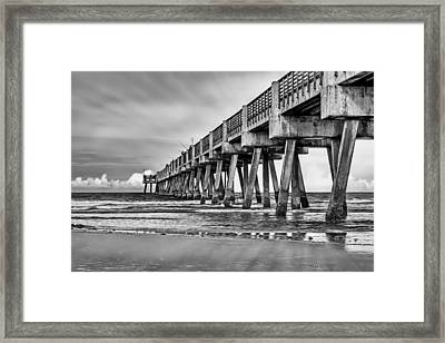 Jacksonville Beach Pier In Black And White Framed Print