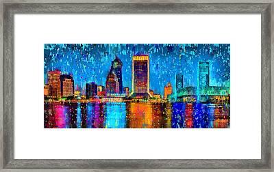 Jacksonville Skyline 107 - Da Framed Print by Leonardo Digenio