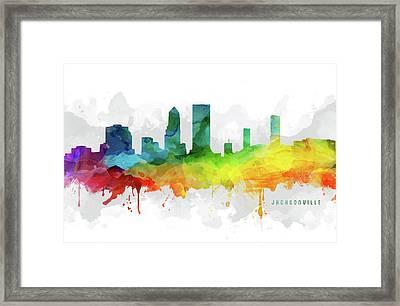 Jacksonville Skyline Mmr-usflja05 Framed Print