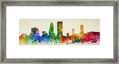 Jacksonville Skyline Panorama Usflja-pa03 Framed Print
