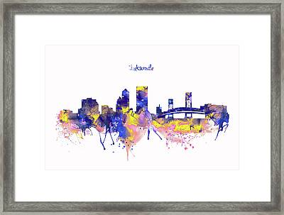Jacksonville Skyline Silhouette Framed Print by Marian Voicu