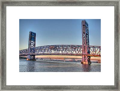 Framed Print featuring the photograph Jacksonville's Blue Bridge At Sunrise by Farol Tomson
