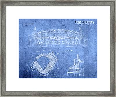 Jacobs Field Cleveland Indians Ohio Baseball Team Field Blueprints Framed Print by Design Turnpike