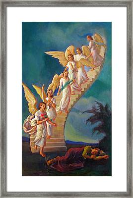 Framed Print featuring the painting Jacob's Ladder - Jacob's Dream by Svitozar Nenyuk