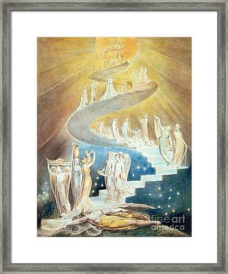 Jacobs Ladder Framed Print by William Blake