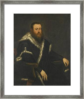 Jacopo Robusti, Called Jacopo Tintoretto , Portrait Of A Bearded Man In A Black Robe With Fur Framed Print