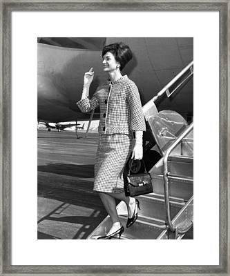 Jacqueline Kennedy Deplanes In New York Framed Print