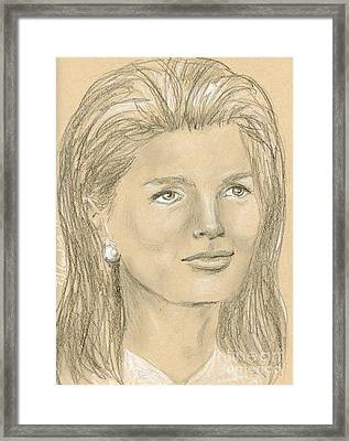 Jacqueline Kennedy Framed Print by P J Lewis