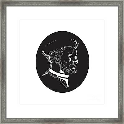 Jacques Cartier French Explorer Oval Woodcut Framed Print