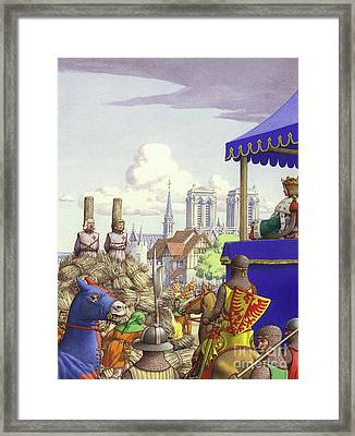 Jacques De Molay About To Be Burned At The Stake Framed Print