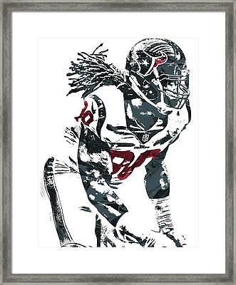 Framed Print featuring the mixed media Jadeveon Clowney Houston Texans Pixel Art by Joe Hamilton