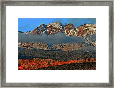 Framed Print featuring the photograph Jagged Peaks Fall by Scott Mahon