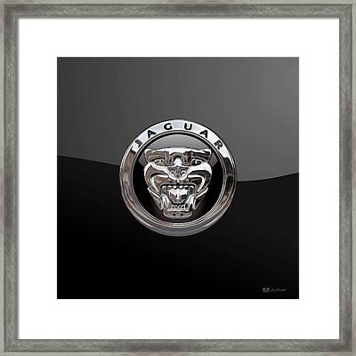 Jaguar - 3d Badge On Black Framed Print by Serge Averbukh