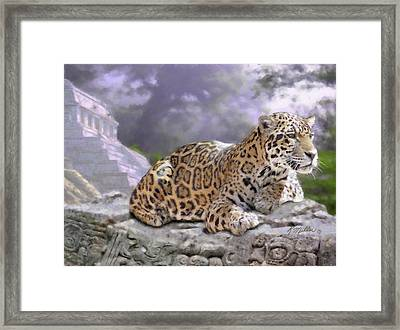 Jaguar And Mayan Temple Framed Print by Kathie Miller