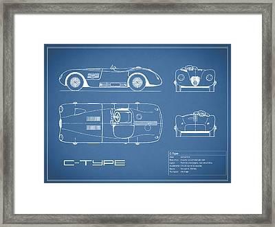 Jaguar C-type Blueprint Framed Print by Mark Rogan