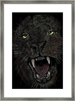 Framed Print featuring the digital art Jaguar by Darren Cannell