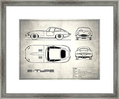 Jaguar E Type Blueprint Design Framed Print by Mark Rogan