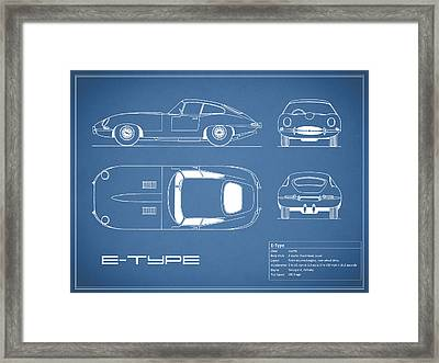 Jaguar E Type Blueprint Framed Print by Mark Rogan