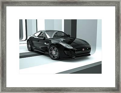 Jaguar F-type - Black Retro Framed Print